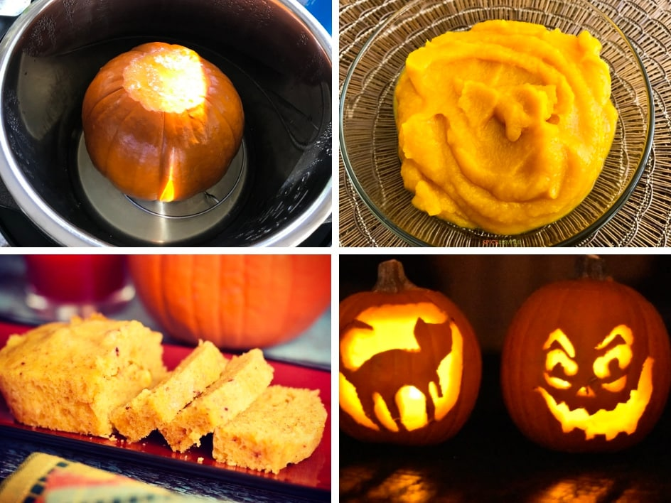 four grid photo of pumpkin for Halloween