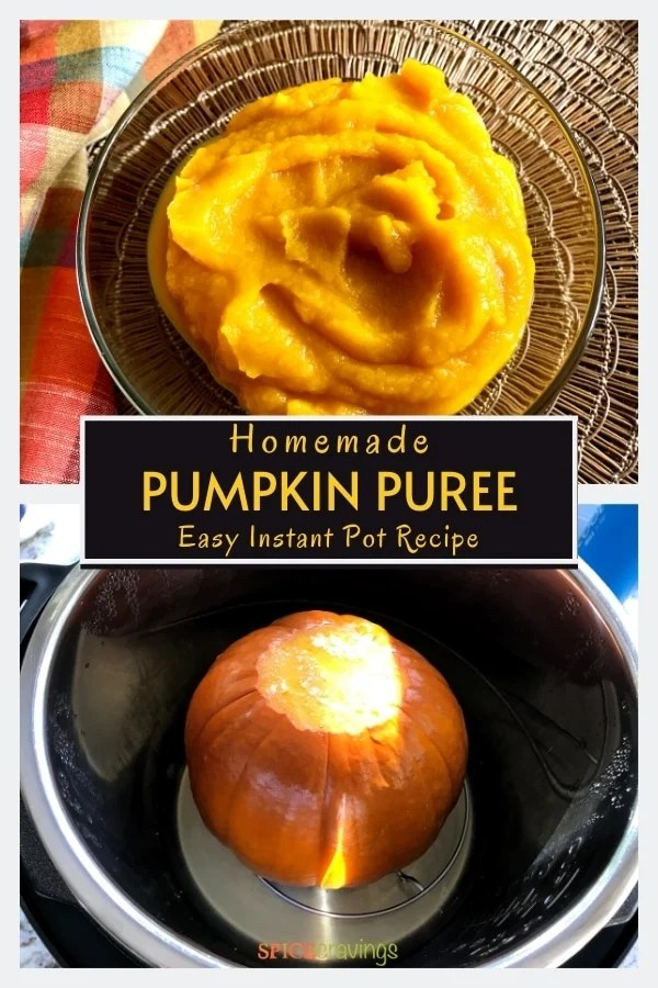 pumpkin puree in bowl, sugar pumpkin in instant pot