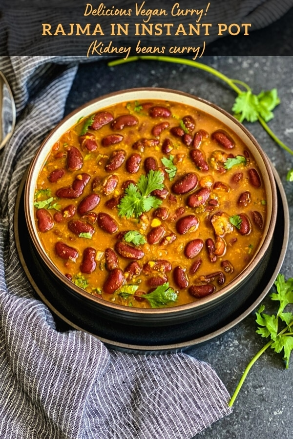Rajma curry in a bowl garnished with cilantro