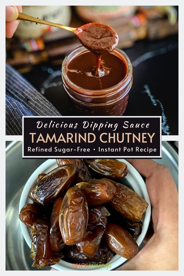Tope shot shows tamarind chutney in spoon, bottom shows bowl of dates