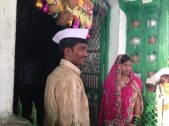 Bride and groom at the temple