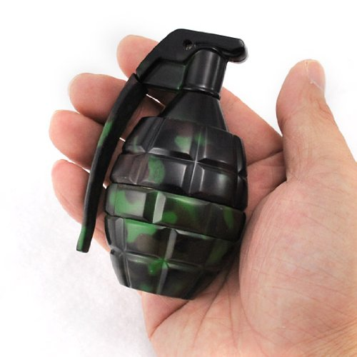 Manual Magnetic 3 Stages Spice Herb Pocket Grinder Pollen Screen Camo Hand Grenade with Pin Handle
