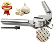 EcoJeannie Professional Garlic Press (GP0001) w/ Hanging Hook and Big Square Holes w/ Brush, Heavy Duty, Commercial Grade,High Quality Stainless Steel