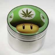 Green Mushroom With Weed Fashion Design Indian Aluminum Spice Herb Grinder