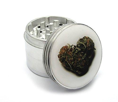 Four Piece Marijuana Heart Bud Herb, Spice or Tobacco Pollen Aluminum Grinder