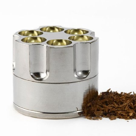 Revolver Gun Bullet Cylinder Shap 3 Pieces Metal Pollen Herb Spice Grind Grinder with Gift Box