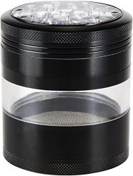 Zip Grinders Spice & Herb Grinder with Pollen Catcher Premium 4 Piece Aerospace Grade Aluminum Large 2.5 By 3.25 Inches (Black)