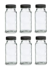 Nakpunar 6 pcs Glass Spice Jars with Shakers (Black)