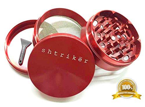 Shtriker® Herb Grinder 2.5 inch 4 Piece Zinc (Red). Magnetic Top. Tobacco Grinder / Spice Grinder / Herb Grinder / Weed Grinder.