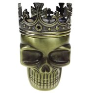 Golden Bell Ancient Crowned King Metal Skull Herb Spice Pollen Grinder–Bronze
