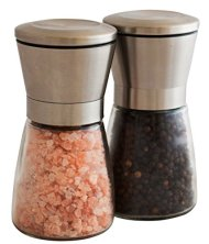 Elegant Stainless Steel Salt and Pepper Grinder Set; Salt Mill & Pepper Mill Pair with Adjustable Coarseness and Stunning Glass Body; Perfect for Spices, Delivers a Fresher Experience than Shakers