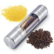 2-in-1 Salt and Pepper Grinder Set,Salt and Pepper Mill, Kitchen Supplies Adjustable Sleek Stainless Steel Grinder Two Mills Into One Dual Ended Design
