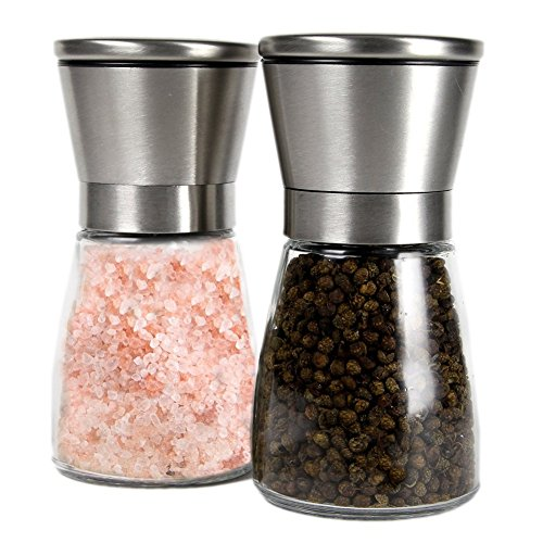 Brushed Stainless Steel Salt Mill and Pepper Grinder Set With Glass Bottle