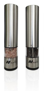 #1 Automatic Salt and Pepper Grinder Set: Best Electric Pepper Mill and Salt Grinder on the Market By Noella – with LED Light, Quality Stainless Steel Construction – 100x Better Than Manual Grinders