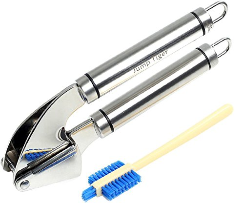 Jump Tiger Stainless Steel Garlic Press Garlic Mincer and Cleaning Brush Set
