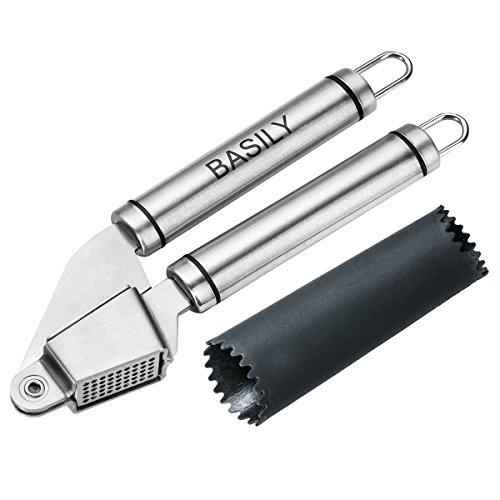 Basily Garlic Press – Garlic Peeler Premium High Quality Stainless Steel Grade – Silicon Rolling Tube Peeler Included, Stainless Steel