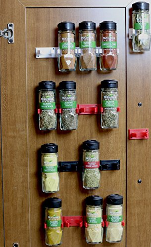 DecoBros 30 Spice Gripper Clips Strips Cabinet Holder – Set of 6, Holds for 30 Spice Jars