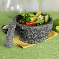 8-1/2 inch Polished Natural Stone Mortar and Pestle by Casa Maria