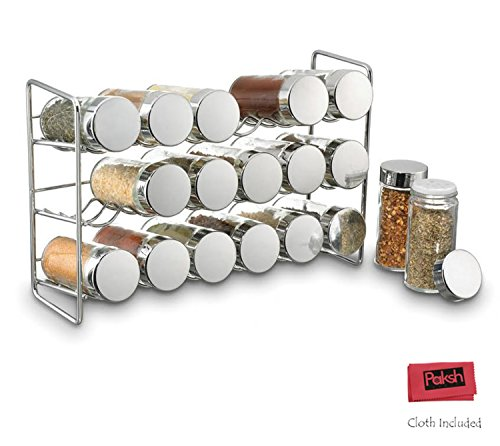Polder /Paksh Sturdy Spice Rack Stand Storage Organizer With 18 Spice Jars Bottles, Chrome