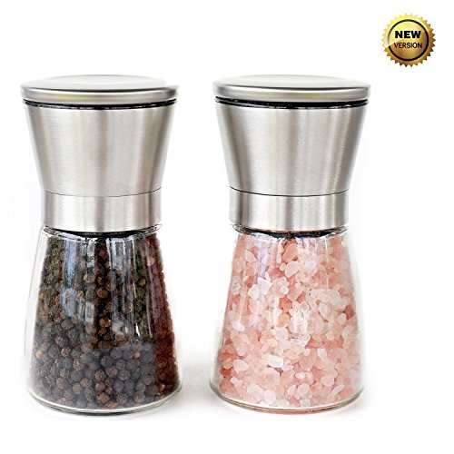 MaxyLife Salt and Pepper Grinder Set, Brushed Stainless Steel Pepper Mill and Salt Mill -Adjustable Ceramic Rotor and Glass Body (2 packs)
