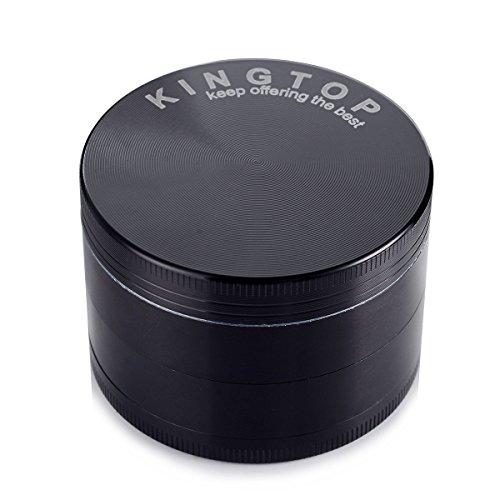 Herb Grinder Kingtop 4 Piece 2.36 Inch / 60mm Zinc Alloy Tobacco Spice Weed Grinder Black