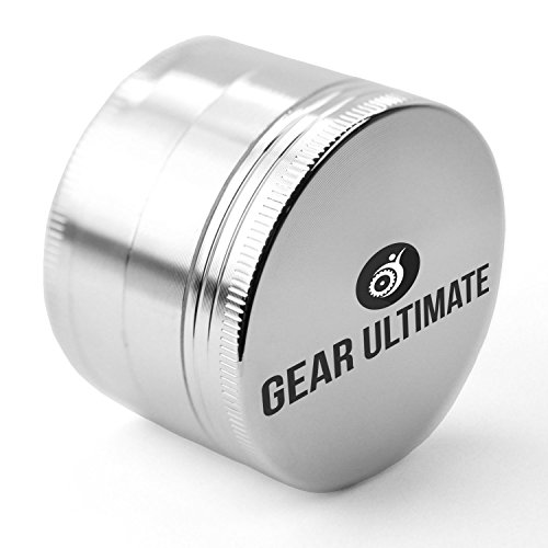 Gear Ultimate Herb Grinder, Large 2.5 Inch 4 Piece Anodized Aluminum with Pollen Catcher and Scraper, Best Herb Crusher for Tobacco, Weed, Tea, Herbs and Spices