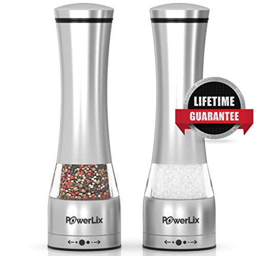 PowerLix Deluxe Stainless Steel Salt And Pepper Grinder Set- Set Of 2 Mill Shakers With Adjustable Ceramic Grinder- Brushed Stainless Steel & Glass Construction- eBook Include