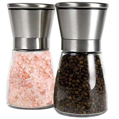 Q's Inn Salt and Pepper Grinder Set – [Lifetime Warranty] Brushed Stainless Steel Salt & Pepper Mill with Glass Bottle – Adjustable Ceramic Rotor – Best 3.5in Shakers Pair for Fun and Healthy Cooking