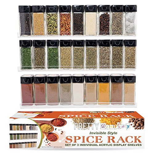 "Acrylic Spice Rack – Wall Mount 3 Floating Shelves Gift Set – Versatile ""Invisible"" Shelf Matches Every Kitchen"