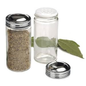 RSVP Clear Glass Spice Jar, Set of 12