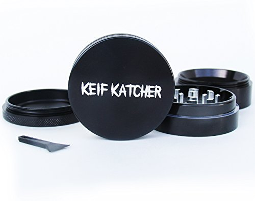 Keif Katcher – Best Large 4 Piece Black Aluminium Herb Grinder with Pollen Screen, Scraper, and Kief Catcher – 2.5 Inches