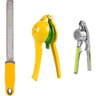 5 in 1 utensils set LEMON SQUEEZER / ZESTER / GARLIC PRESS and NUTCRACKER – Premium quality hand held manual lime orange citrus Juicer press w ginger crusher and GRATER