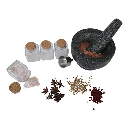 Granite Mortar and Pestle with Four Spice Jars and Funnel Gift Set Bundle
