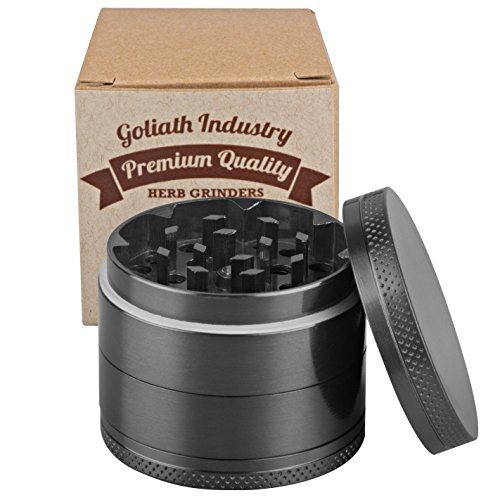 Goliath 5 Piece Titanium Spice Tobacco Weed Herb Grinder Crusher with Pollen Catcher – Premium Quality (Grey)