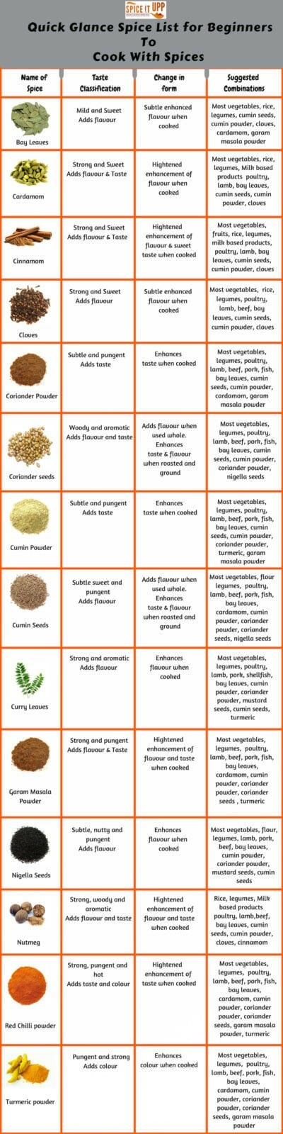 Spice infographic of List of spices for beginners for cooking with spices and their uses