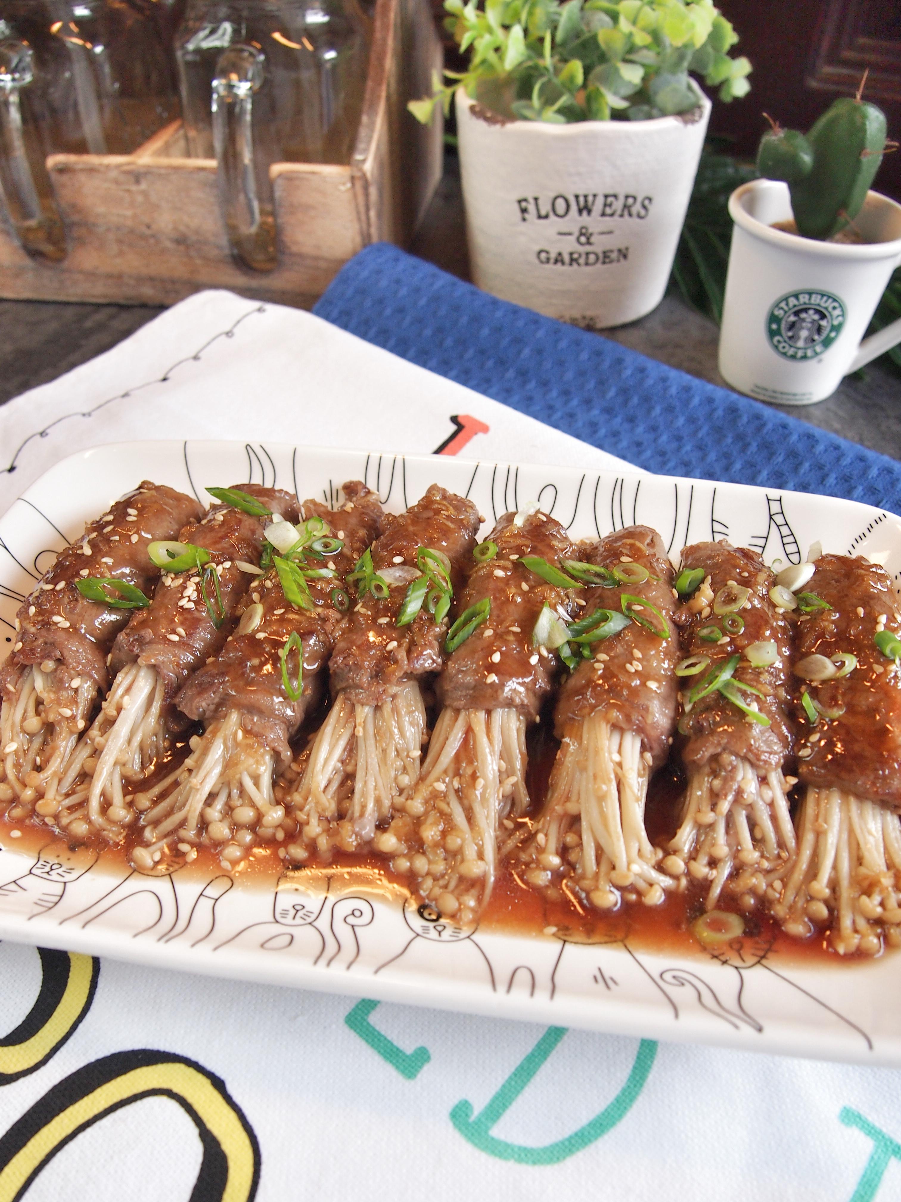 SUPER EASY Japanese Enoki (Mushroom) Beef Rolls in Teriyaki Sauce Recipe 金菇肥牛卷