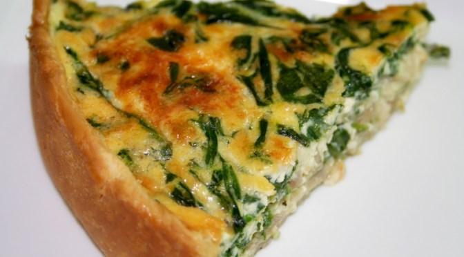 Green and Gold Quiche (Quiche Florentine with Mushrooms)