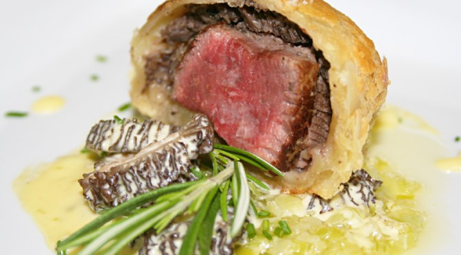 Mini Beef Wellington with Morel Bearnaise and Melted Leeks