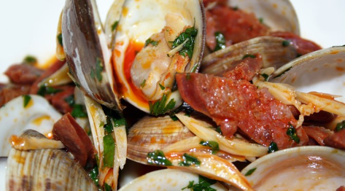 Littleneck Clams with Chorizo and Garlic