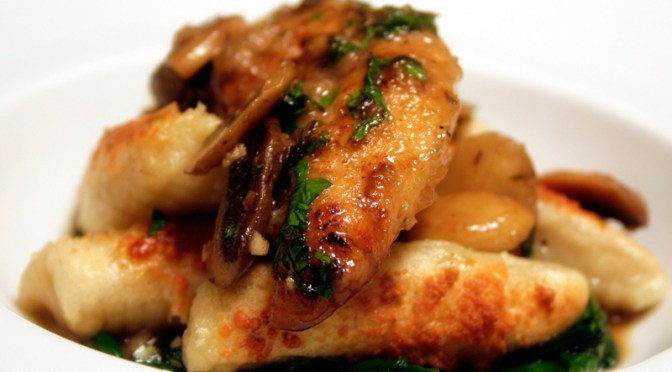 Chicken Marsala with Crispy Potato Gnocchi and Sauteed Spinach