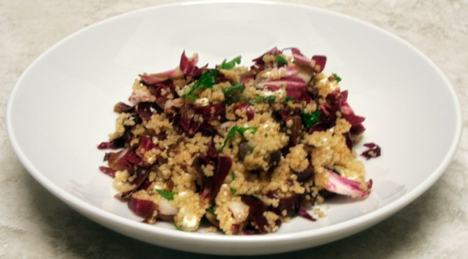 Couscous Salad with Grilled Radicchio, Grapes and Goat Cheese