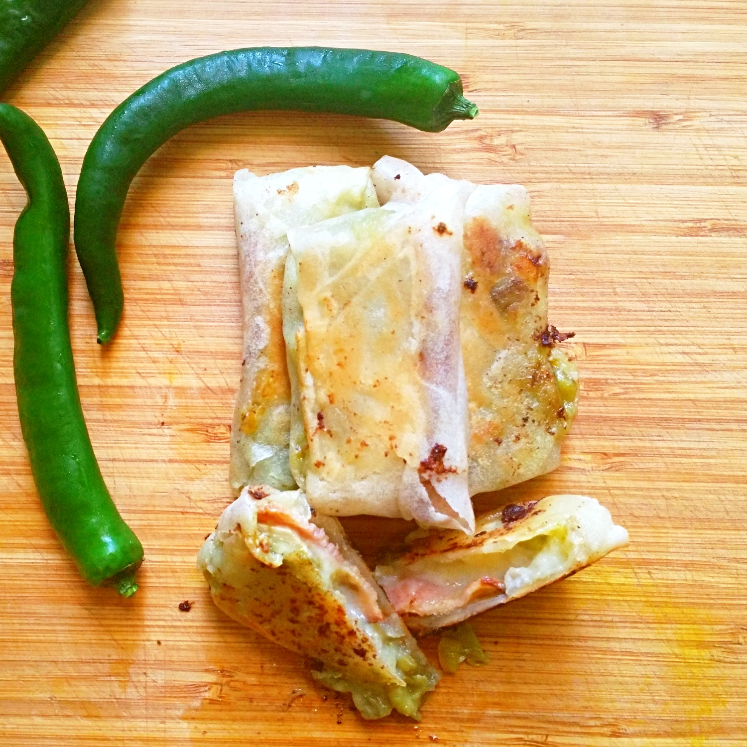 Bacon, Brie and Green Chile Spring Rolls