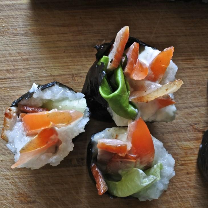 BLT sushi rolls