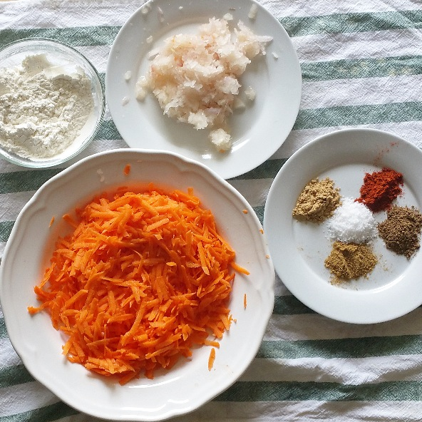 grated carrot, grated onion, spices and cornstarch