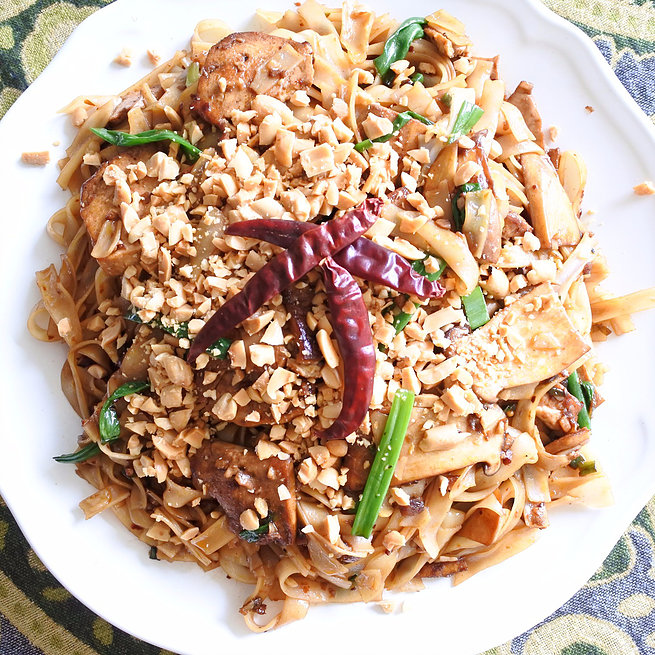 Sweet Soy and Chile Rice Noodles with Tofu and Mushrooms