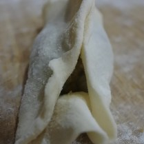 Chinese dumpling pinched at other side