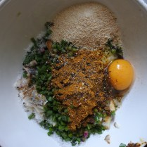 ingredients for fish cakes in bowl