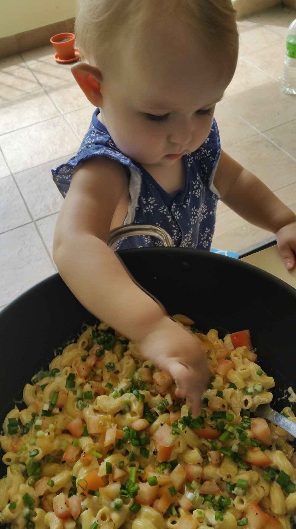 a baby picking out stovetop mac and cheese from a big pot