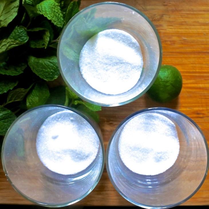 sugar in glasses for a mojito