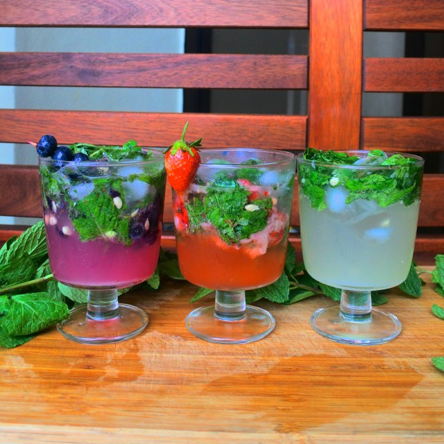 blueberry mojito, strawberry mojito and regular mojito
